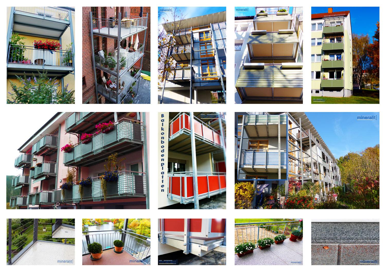 Polymerbeton Balkonplatten mit Aufkantung Ausklinkungen & Edelstahl Entwässerungsrinnen