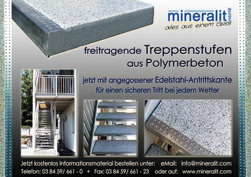 freitragende Treppenstufen mit angegossener Antrittskante aus Edelstahl