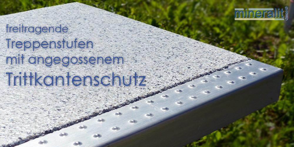 Treppenstufen mit Trittkantenschutz aus mineralit
