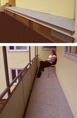 Balkonbodenbelag aus Mineralit, die günstige beständige Balkonsanierugsvariante