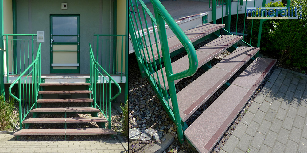dauerbeständige Treppenstufen, freitragend