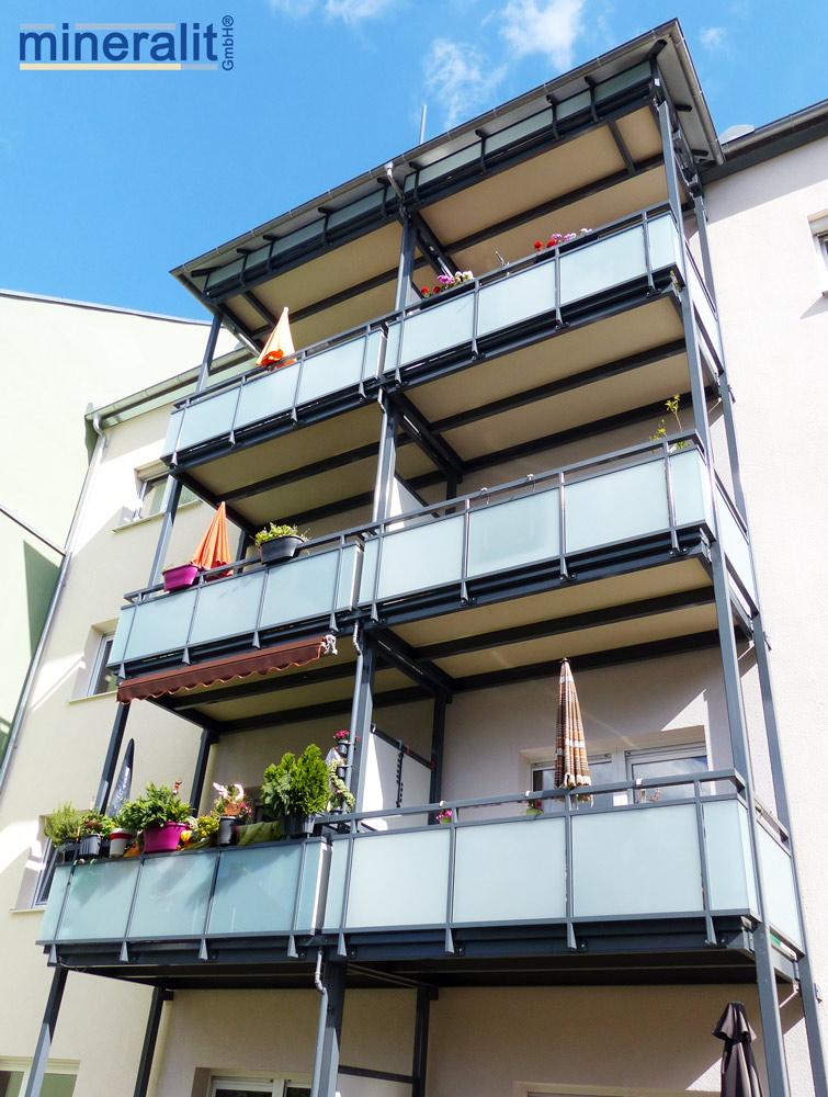 nachträglicher Balkonanbau mit mineralit Balkonplatten