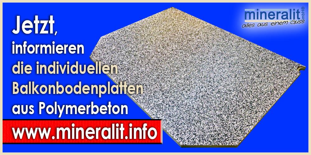 Balkonplatte mit abgewinkelten Ecken, individuelle Plattenelemente aus Polymerbeton