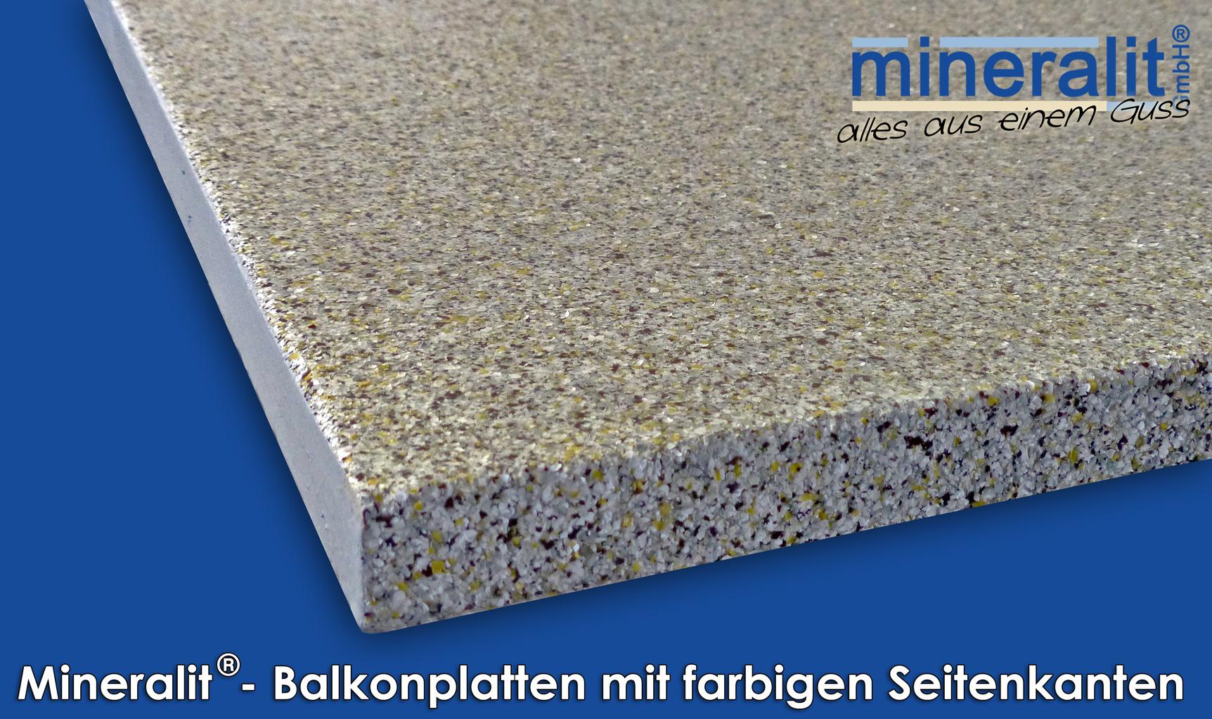 farbige Seitenkanten für Balkonplatten aus Polymerbeton