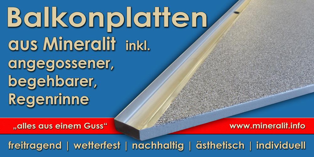 angegossene Edelstahl Ablaufrinne für individuelle Balkonplatten aus Polymerbeton