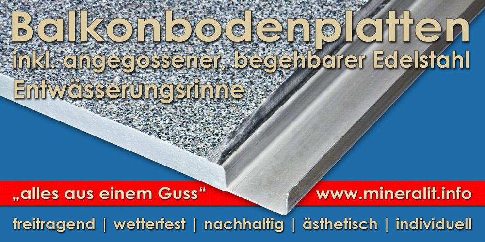 Terrassenplatten mit angegossener Ablaufrinne aus Edelstahl