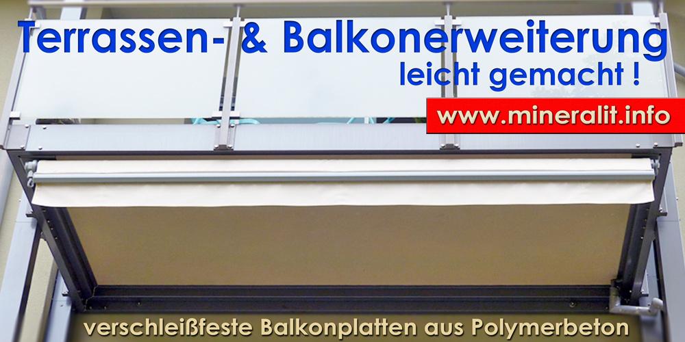 vorgesetzte Balkonanlage mit Balkonplatten aus Mineralit inkl. entwässerung und Aufkantung