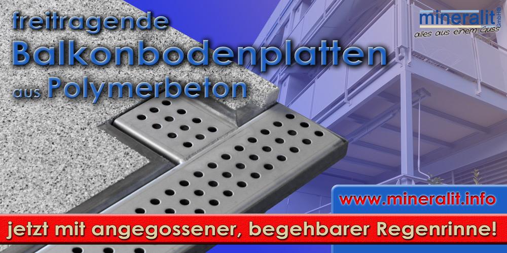 Balkonentwässerungsrinne für freitragende Balkonplatten