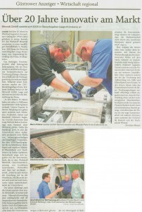 Zeitungsbericht der Schweriner Volkszeitung mit Bild von Mitarbeitern