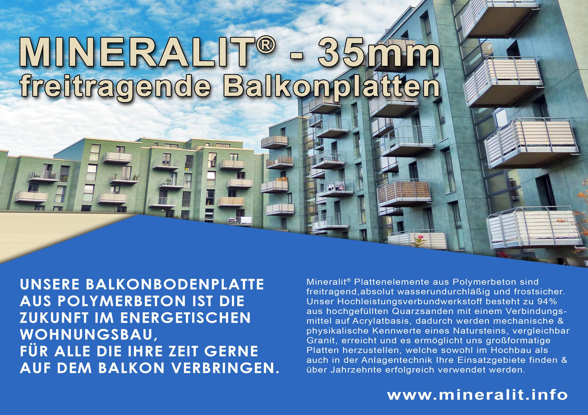 Balkonanlage mit vorgehängten Balkonen und mineralit Balkonbodenplatten