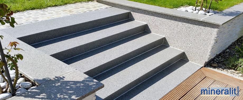 mineralit Treppenbelag im Aussenbereich, witterungsbeständige Treppenbeläge