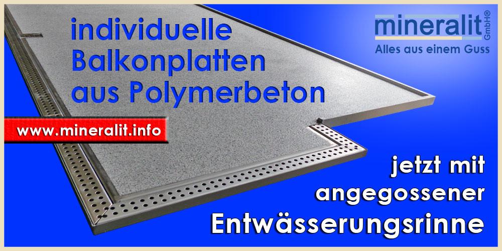 angegossene Regenrinne bei Balkonplatten aus Polymerbeton - individuell, barrierefrei und freitragend