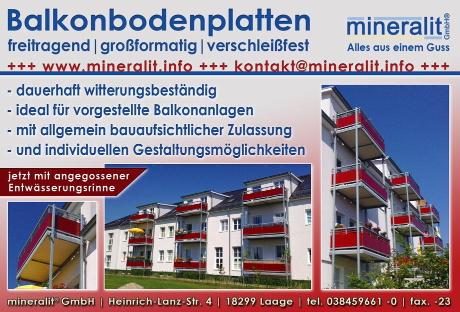 Balkonanlage mit vorgestellten Balkonkonstruktionen und Plattenelementen aus Mineralit