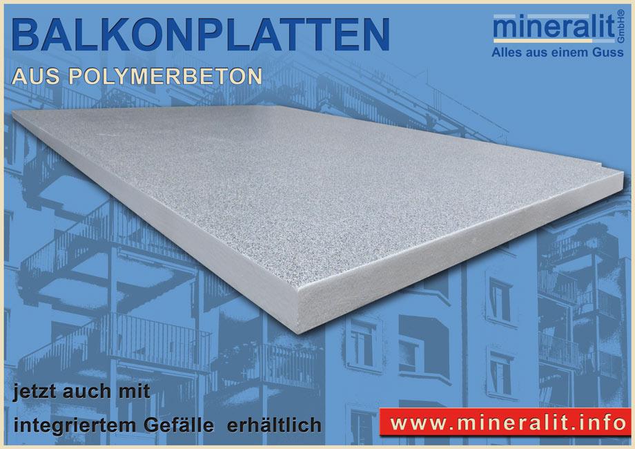 Balkonplatten mit Gefälle zur Verlegung auf vorgestellte Balkonanlagen