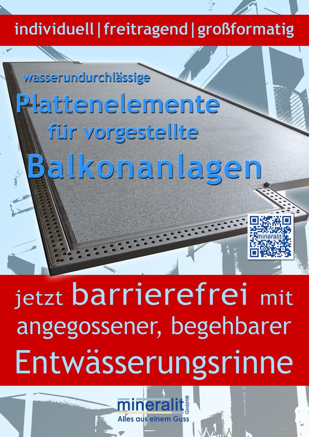 Plattenelement aus Polymerbeton mit angegossener barrierefreier Regenrinne