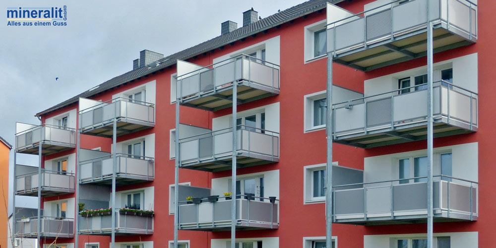freitragende Balkonplatten aus Polymerbeton