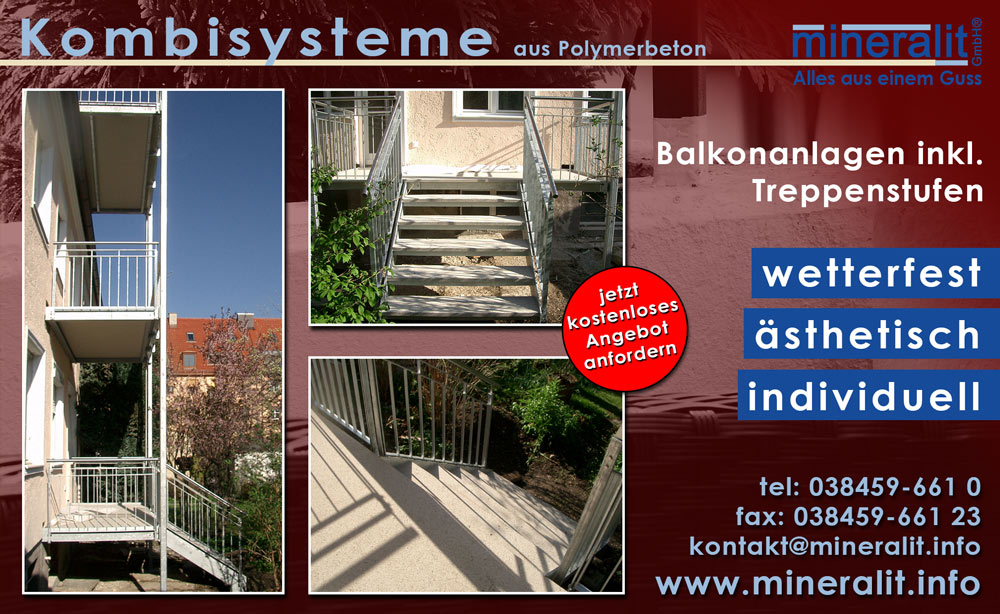 balkon mit treppe mineralit mineralgusswerk laage gmbh. Black Bedroom Furniture Sets. Home Design Ideas