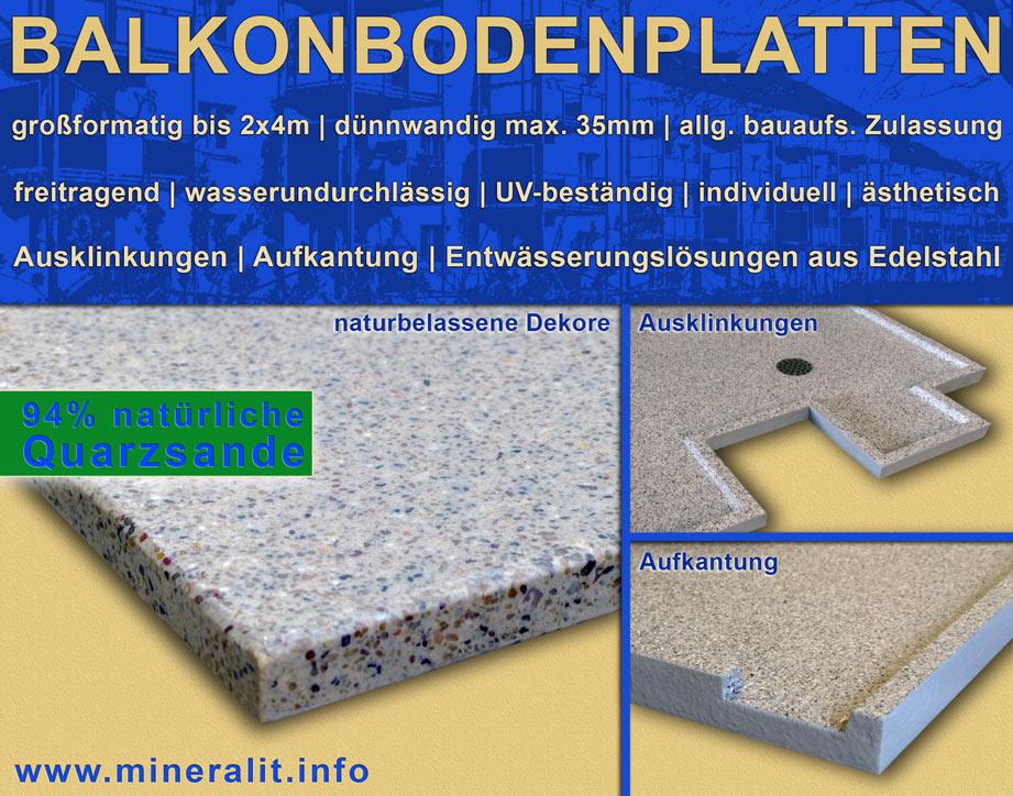 Balkonbodenplatten Details der Aufkantung und Ausklinkungen