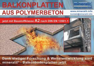 nicht brennbare Balkonplatten aus Polymerbeton