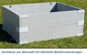 Mineralit Hochbeet als Stecksystem mit Metallverbindern