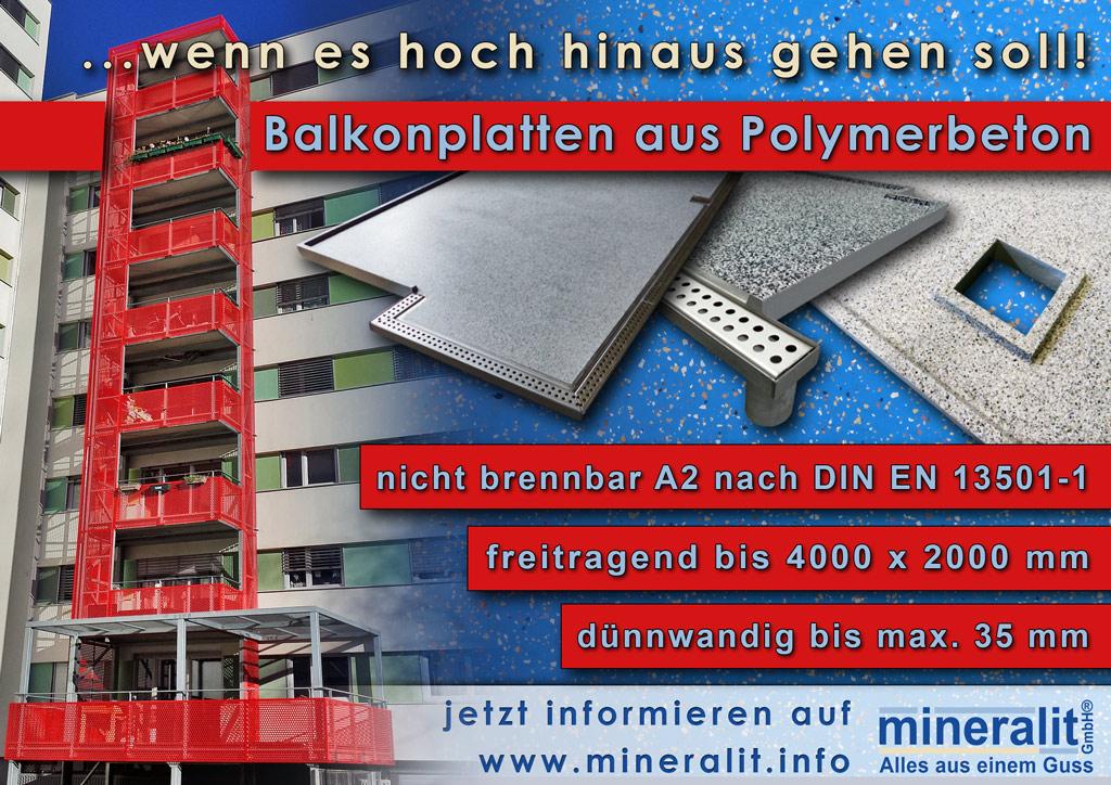 Balkonanlage mit Plattenelementen aus Baustoffklasse A2 nach DIN EN 18501