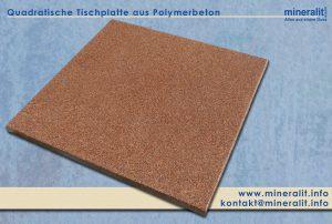Draufsicht einer Tischplatte aus verschleißfreiem Polymerbeton im Dekor Monzonit