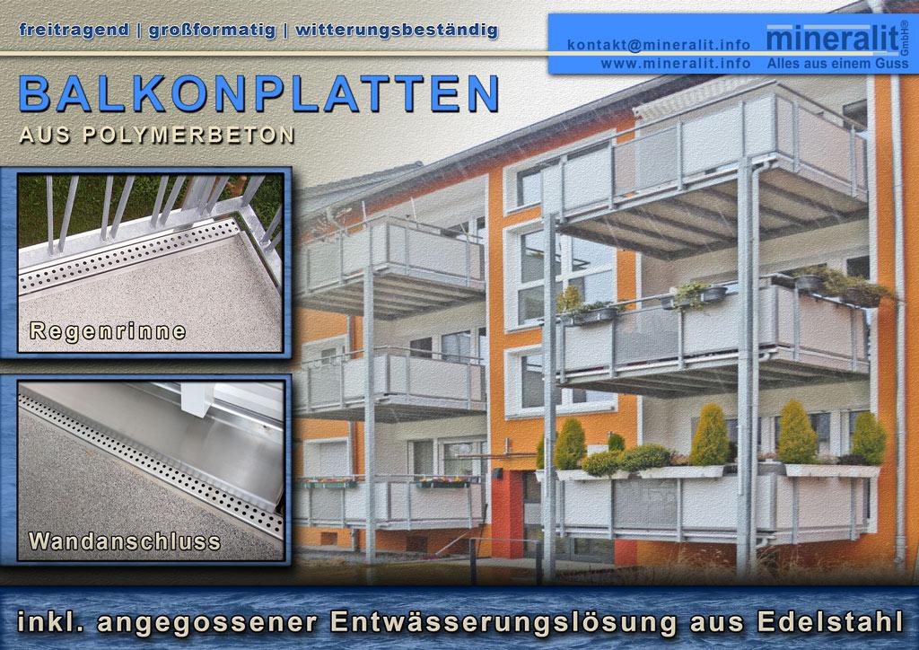 Balkonanlage mit Plattenelementen und angegossener Regenrinne