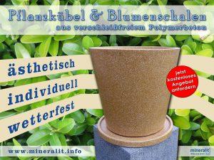 Blumenschalen & Pflanzkübel aus Polymerbeton, beschichtet im Dekor hellbraun