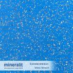 Mineralit Sonderdekor Blaubraun mit Blauer Grundierung und hellbraunen Schnipsel