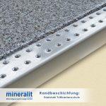 Randausführung für Plattenelemente aus Mineralit unser Edelstahl - Trittkantenschutz