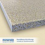 Mineralit Randbeschichtungen für Balkonbodenplatten - Sonderausführung einseitig im Oberflächendekor