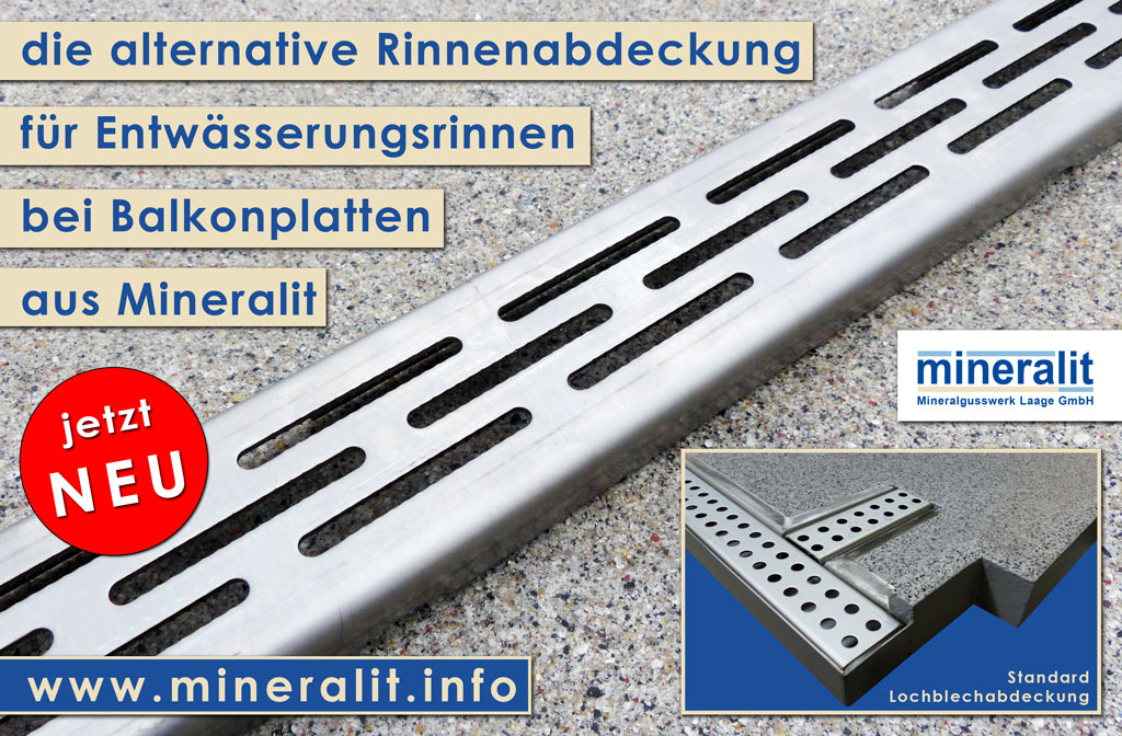 Alternative Rinnenabdeckung für unsere Entwässerungslösungen bei freitragenden Balkonplatten aus Mineralit