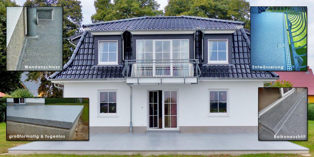 Balkonboden und Terrassenbelag - Plattenelementen aus Mineralit. Großformatig, dünnwandig, verschleißfest und individuell