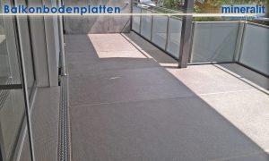 Balkonanlage mit Großformatplatten aus Mineralit