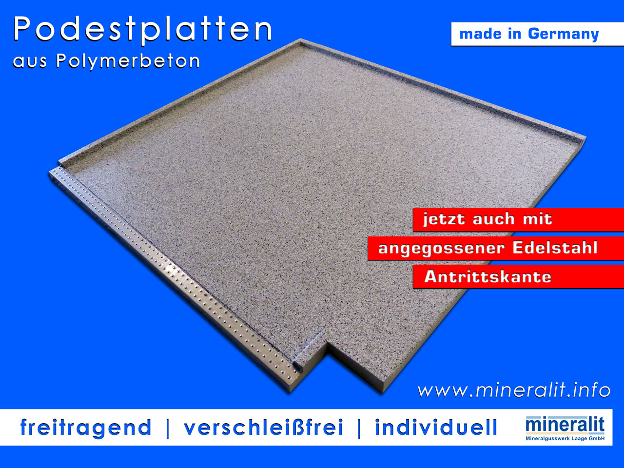 Podestplatten aus verschleißfreiem Polymerbeton