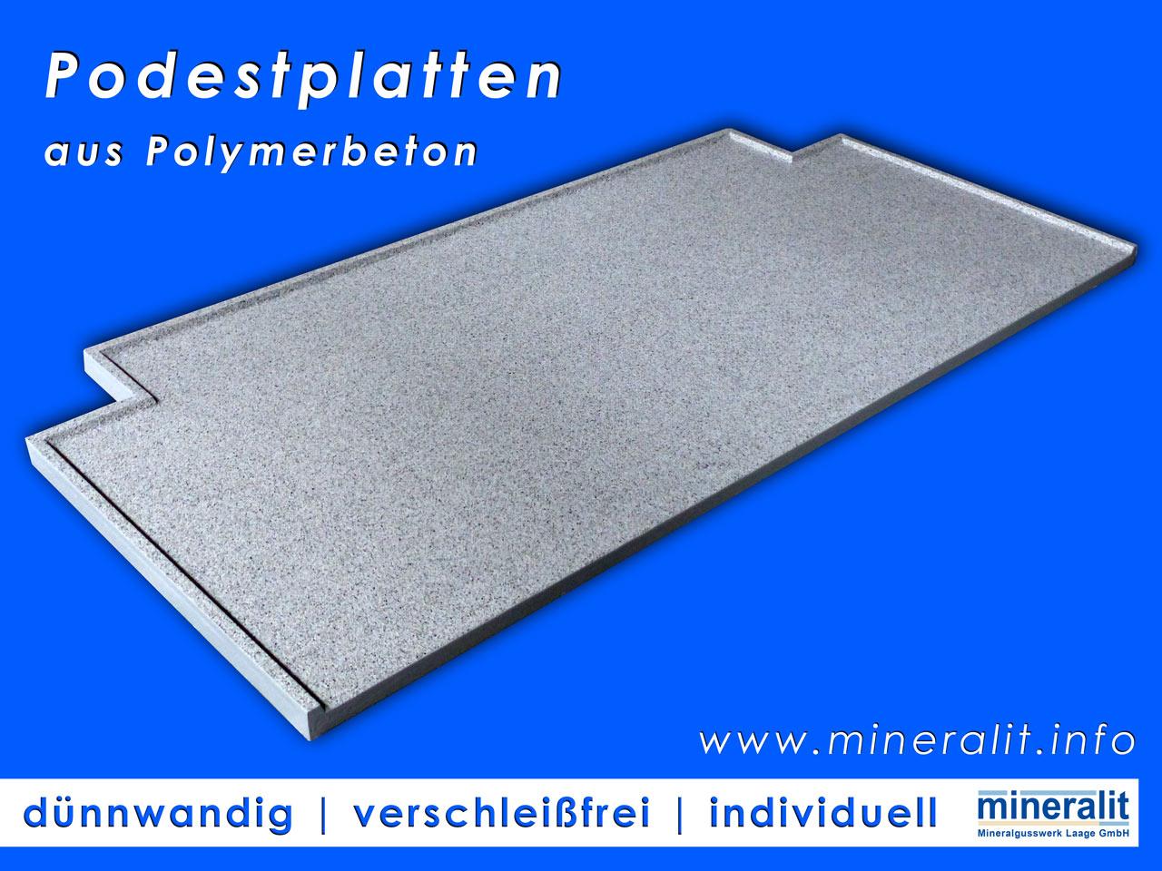 Podestplatten für jeden Hauseingang, dauerhaft wasserundurchlässig, individuell anpassbar, dünnwandig und großformatig.