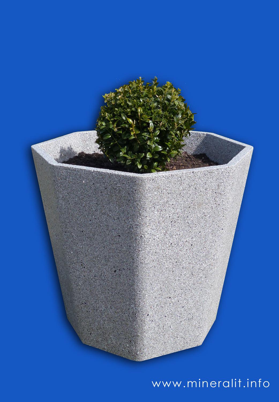 """Blumenkübel achteckig, beschichtet im Standarddekor """"granit hell"""""""